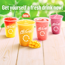 Get yourself a fresh drink now!<br>New Fruit'n Yogurt Smoothies